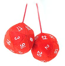 20-sided fuzzy dice from ThinkGeek.com