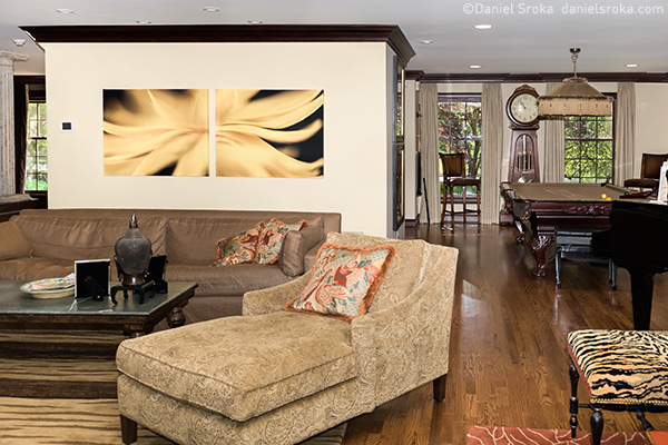 This collector purchased my artwork to to complement the rich and eclectic style of their living room.