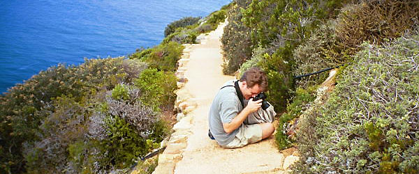 Daniel Sroka at work, Cape Point, Africa